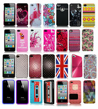 PATTERNED, IMD, DIAMANTE HARD BACK, SILICONE GEL CASES FOR IPHONE 4 - 4S VARIOUS