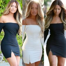 Sexy Women Off Shoulder Long Sleeve Zipper Dress Club Party Bodycon Mini Dresses