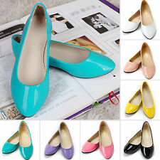Women Ballerina Ballet Dolly Pump Ladies Flat Loafers Oxfords Shoes Faux Leather