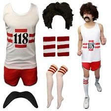 118 118 FANCY DRESS MENS WOMENS COSTUME MARATHON RETRO VEST SHORTS STAG SET