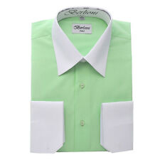 Berlioni Italy Men's Italian French Convertible Cuff Two Tone Dress Shirt Lime