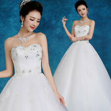 Luxury Lace Dec. Floral Strapless Wedding Dresses Ivory Bride's Bridal Gowns