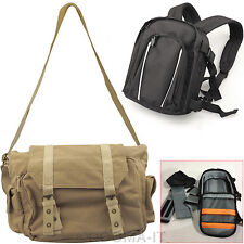 DSLR SLR Camera Rucksack Bag And Canvas Vintage Shoulder Case For Canon Nikon