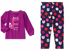 GYMBOREE Baby Girls Glitter Fox Top Shirt Pants Outfit Set 6-12 12-18 Months NWT