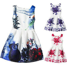 Summer Girls Charming Floral Sleeveless Princess Dress Kids Pageant Clothes
