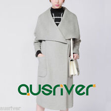 Brand New Long Thick Warm Overcoat Winter Wool Blend Women's Trench Grey
