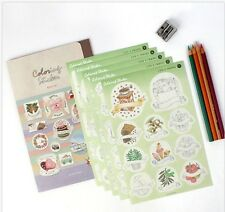 [Coloring Sticker] Diary Note Planner Decoration Stickers DIY 5EA 1SET