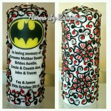 IN LOVING MEMORY REMEMBRANCE BATMAN CANDLE Personalised