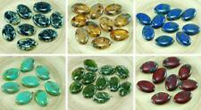 4pcs Large Picasso Czech Glass Flat Oval Beads 20mm x 14mm