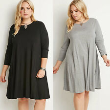 Plus Size Summer  Women long Sleeve Cocktail Party casual gray Black Dress L-3XL