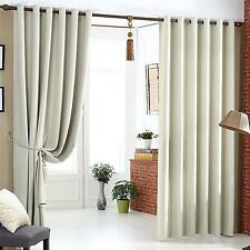 Beige Cream Blackout Curtains Heavy Fabric Ready Made Eyelet Curtain - On Sale