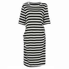 Plus Size Women Bodycon Slim Striped 3/4 Sleeve Bandage Evening Party Mini Dress