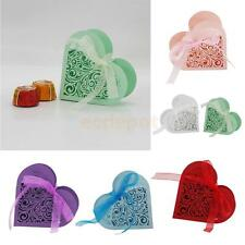 20x Love Heart Laser Cut Candy Gift Box w/Ribbon Wedding Party Favor 6 Color