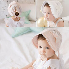Kids Baby Girls Caps Sweet Lovely Cute Hat Beanie White/Pink Lace Floral Cap