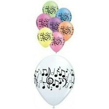 "Music Themed Party 25  Music Notes 11"" Latex Balloons Neon Ass /White"
