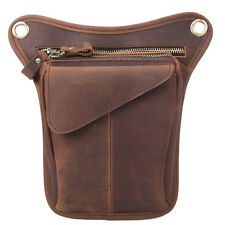 "8"" Men Genuine Leather Fanny Waist Pack Drop Leg Bags Outdoor Hiking Motorcycle"