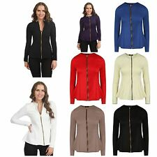Women Ladies Plain Full Sleeve Zip Up Peplum Frill Tailored Blazer Jacket Tops