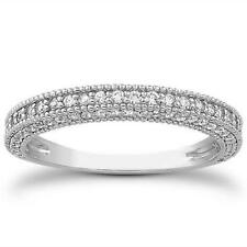 Fancy Pave Diamond Migrain Wedding Band Ring 14k White Gold 3/4 CTW