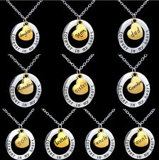 Family Gifts Retro Forever In My Heart Circle Love Member Heart Pendant Necklace