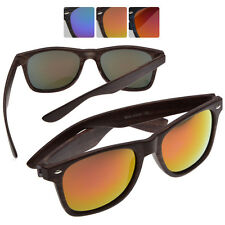 Classic Wayfarer Style Wood-Grain Reflective Mirror Sunglasses with FREE CASE