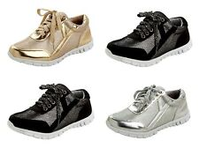 WOMENS LACE UP GLITTER SPORTS STYLE TRAINERS GYM PUMPS SHOES LADIES UK SIZE 3-8
