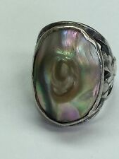 Vintage 925 Sterling Silver Ring With Mother Of Pearl Size 2