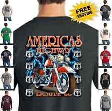 Biker Classic Motorcycle Custom Chopper Route 66 State Shields Mens T Shirt