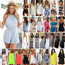 2016 Womens Beach Sun Dress Summer Shorts Mini Playsuit Lady Party Evening Maxi