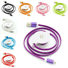 3FT Retractable Noodles Aluminum Micro USB Strong Data Sync Charger Cable Cord