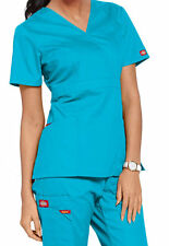 Dickies Medical EDS Signature Scrubs Turquoise Mock Wrap Top Size XS-XXL NWT