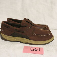 Sperry Top-Sider Intrepid Boys Brown Leather Boat Shoe YB25328A  sz 4  11366