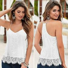 Women's Sleeveless Lace Tops Casual Loose Shirt Sexy Ladies Tank Top Vest Blouse
