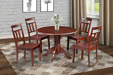 "42"" ROUND TABLE DINETTE KITCHEN DINING ROOM SET WITH CAPRI CHAIRS IN MAHOGANY"