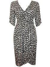 Captive Black/Cream Spotted Ruched Waist Wrap Dress Summer Dress Plus Size