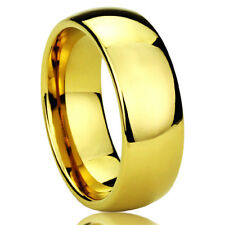Men Women 8MM Titanium Comfort Fit Wedding Band Ring Gold Tone Classy Domed