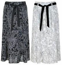 Ladie Women 36 Inch Linen Skirt Floral Printed Fabric Tie belt Elasticated Waist