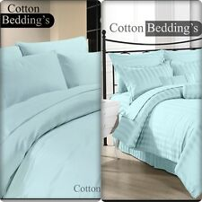 1200 1000 800 TC 100% Egyptian Cotton UK Hotel Quality Sky Blue In Solid Striped