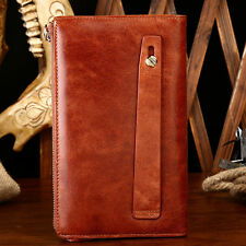 New Mens Fashion Business Genuine Leather Long Wallet Cowhide Pocket Card Holder