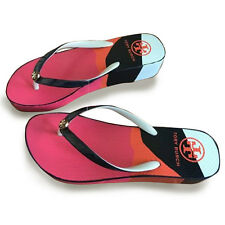 New TORY BURCH Flip Flops Flat Flop Beach Sandals Summer Pink black Wedge