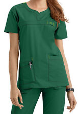 Wink Medical Scrub Wonder Flex Hunter Green Curved Notch-Neck Top Sz XS-XXL NWT