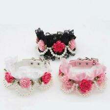 DOG CAT COLLAR PET PUPPY SAFETY BUCKLE NECKLACE HANDMADE FLOWER LACE NECK STRAP