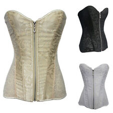 New Overbust Corset Top Pattern Lace Up Bustiers Lingerie Corselet + G-string
