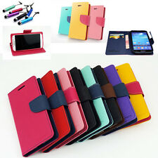 Protector Dual Color Card Hoder Wallet Leather Flip Case Cover Stand For Samsung