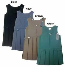 GIRLS  FRONT ZIP BOX PLEATED SCHOOL PINAFORE DRESS with Button
