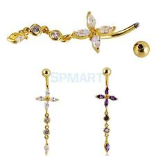 Charm Belly Cross Crystal Dangly Button Bar Navel Ring Body Piercing Jewelry