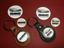 DELOREAN MOTOR CO. REAL LEATHER KEY RINGS & BADGES + FREE `DMC` PHONE STICKER