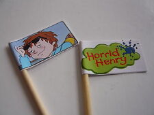 20 CUPCAKE FLAGS/TOPPERS - HORRID HENRY CHILDRENS BIRTHDAY PARTY
