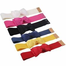 Classic Stylish Bowknot Elastic Bow Wide Stretch Buckle Waistband Waist Belt