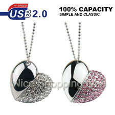 32GB 16GB Crystal Heart Jewelry Necklace USB 2.0 Memory Stick Flash pen Drive