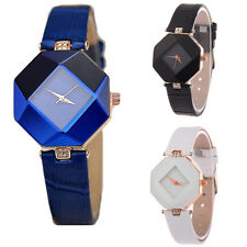 Womens Lady Prism watches Leather Band Analog Quartz Crystal Wrist Watch Gift